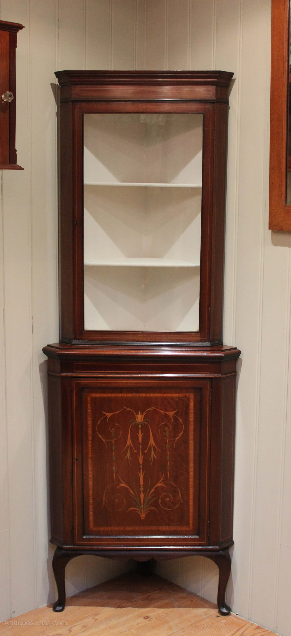 Inlaid mahogany corner display cabinet antiques atlas for Corner cabinet