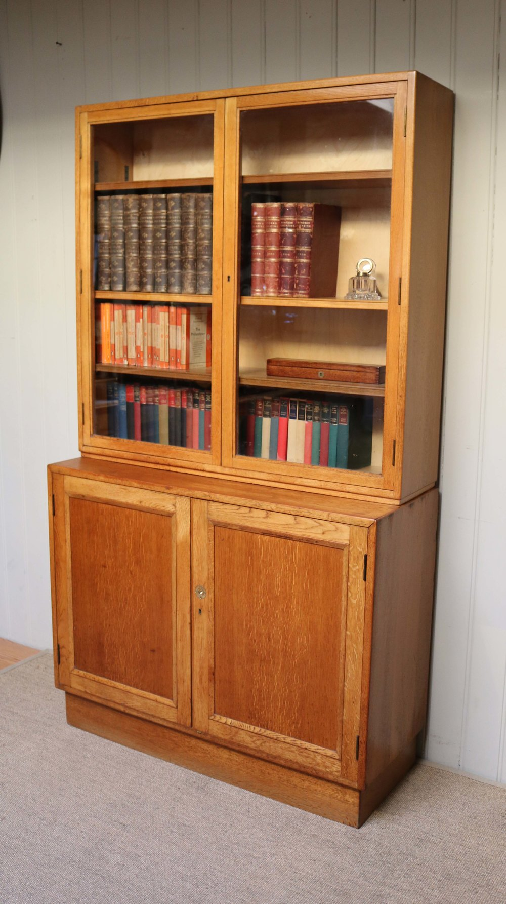 Antiques Atlas Large Light Oak Cabinet Bookcase
