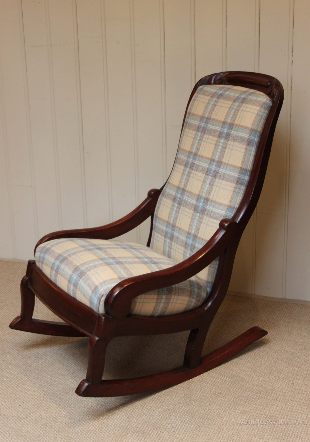 Late Victorian Upholstered Rocking Chair Antiques Atlas
