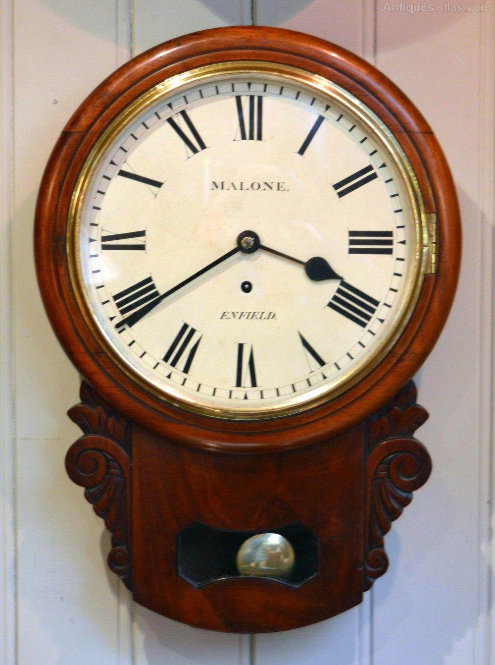 Antiques Atlas Mahogany Drop Dial Wall Clock