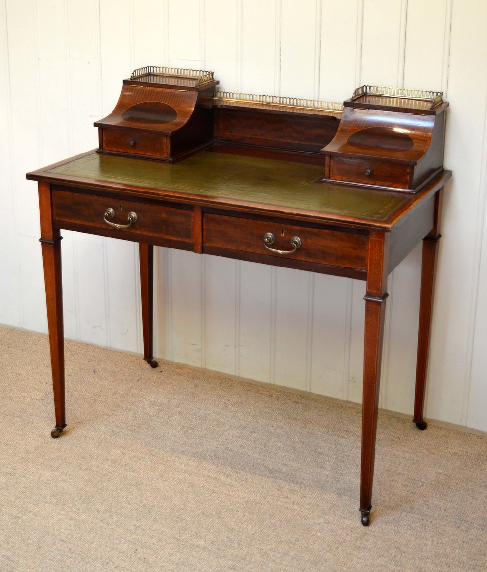 Mahogany Writing Desk ~ Mahogany inlaid writing desk antiques atlas