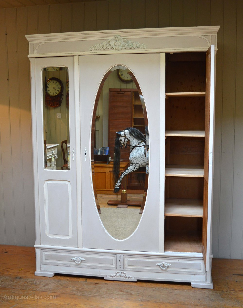 Mirrored Front Painted Wardrobe Antiques Atlas