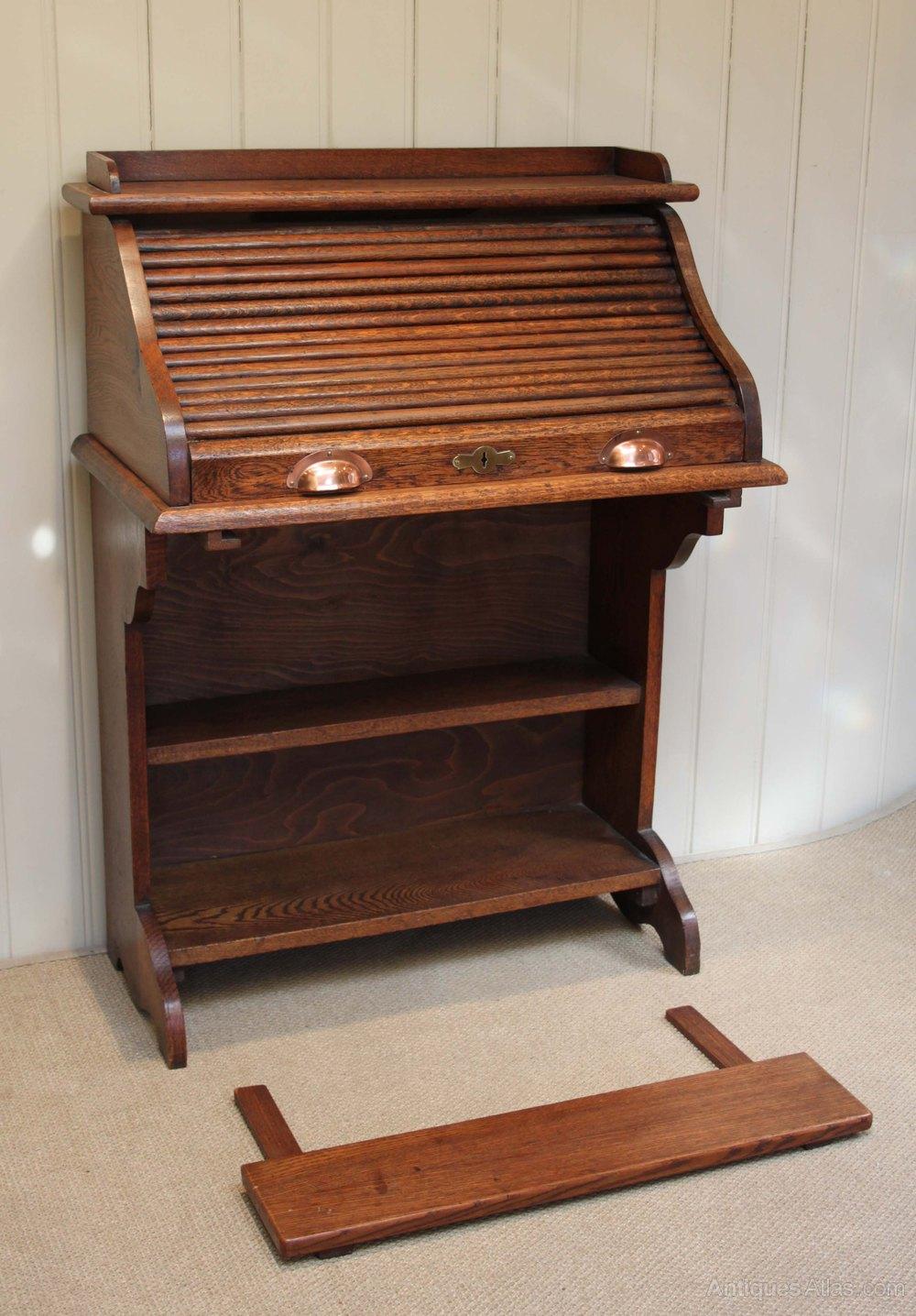 oak roll top bureau antiques atlas. Black Bedroom Furniture Sets. Home Design Ideas