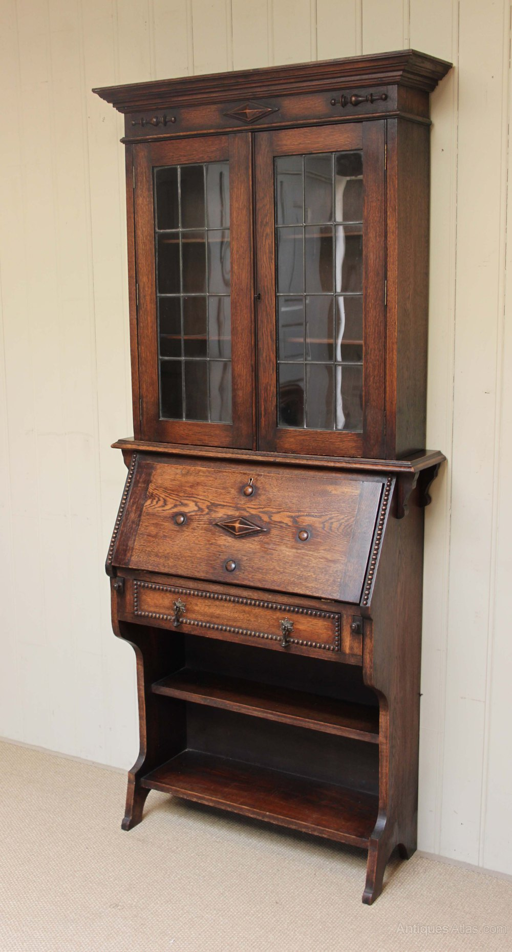 oak bureau bookcase antiques atlas. Black Bedroom Furniture Sets. Home Design Ideas