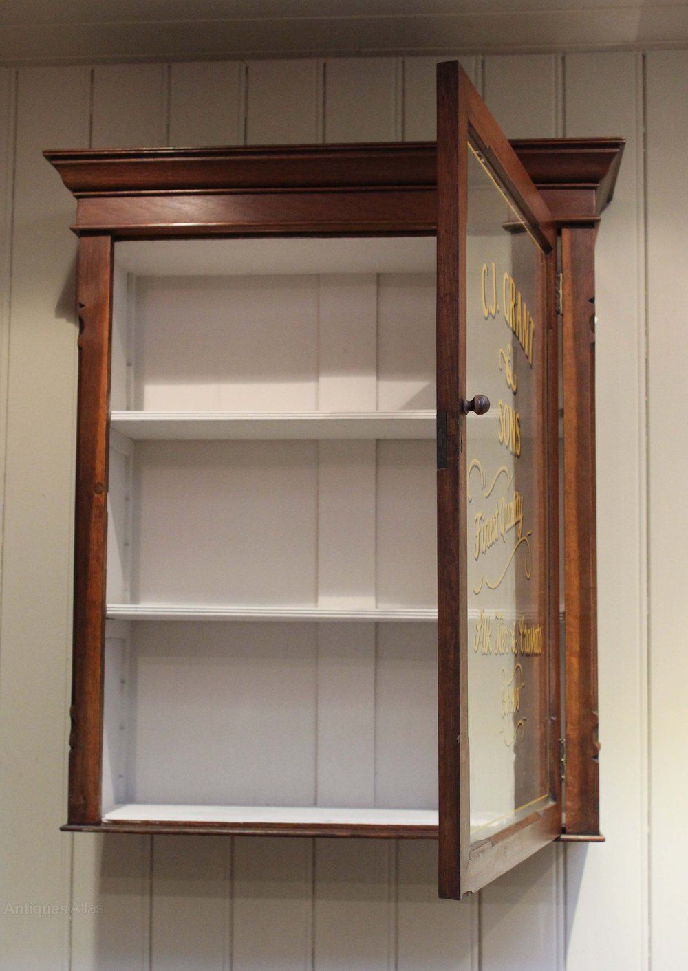 Oak glazed wall cabinet antiques atlas for Wall cabinets