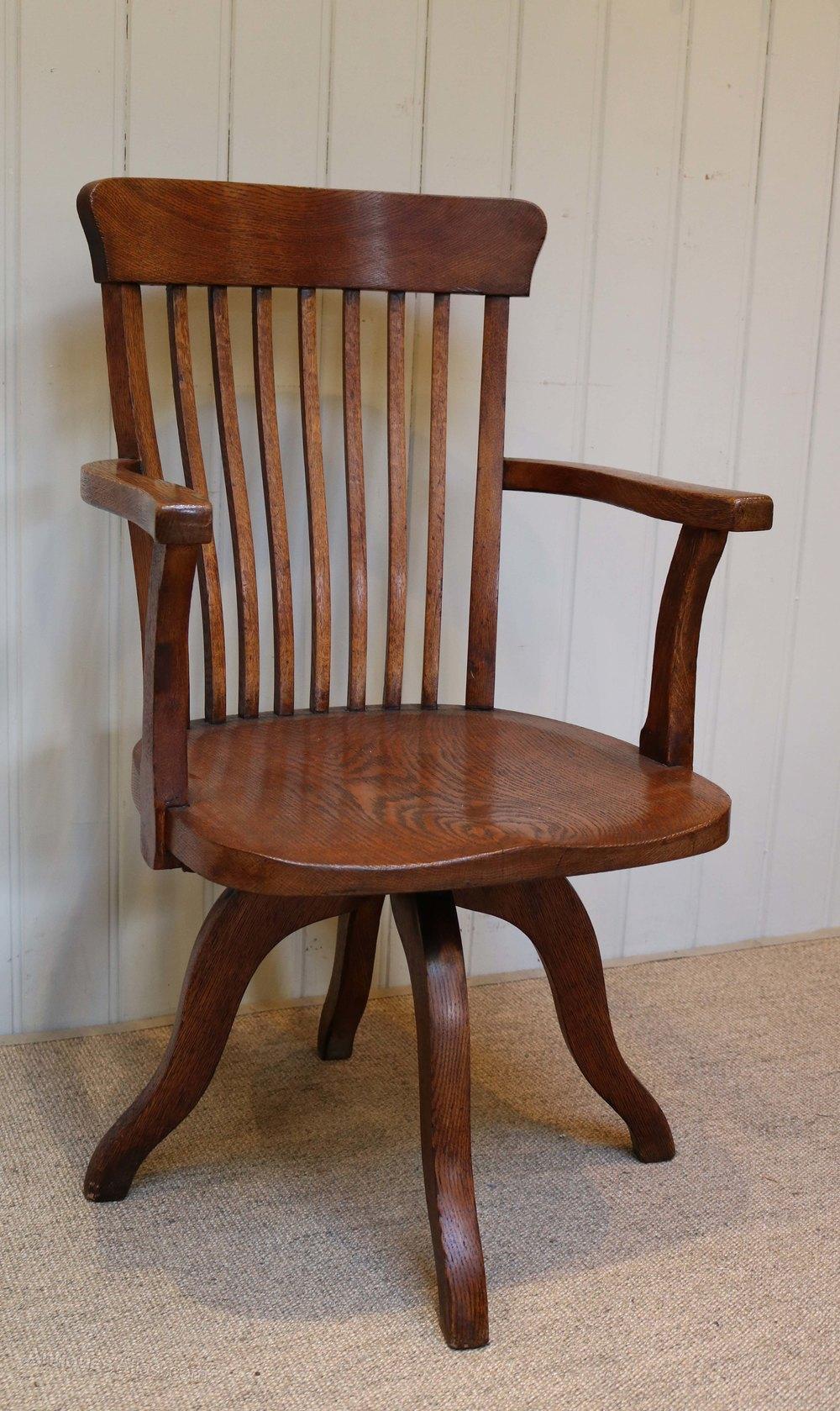 Oak swivel office chair antiques atlas