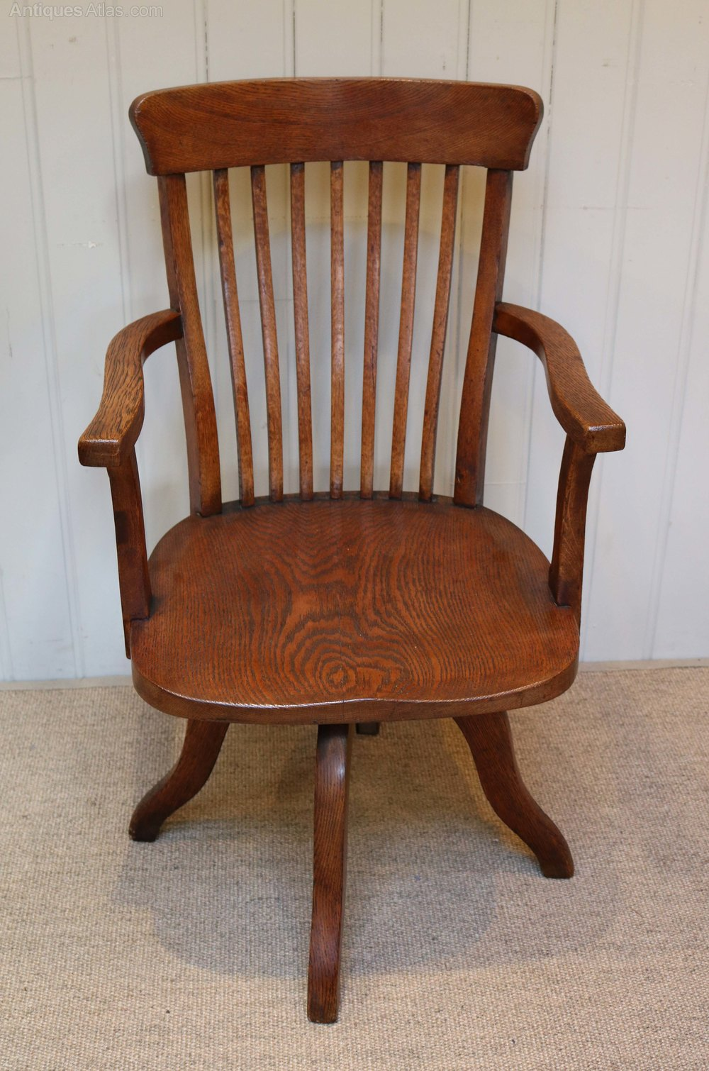 Oak Swivel Office Chair Antiques Atlas