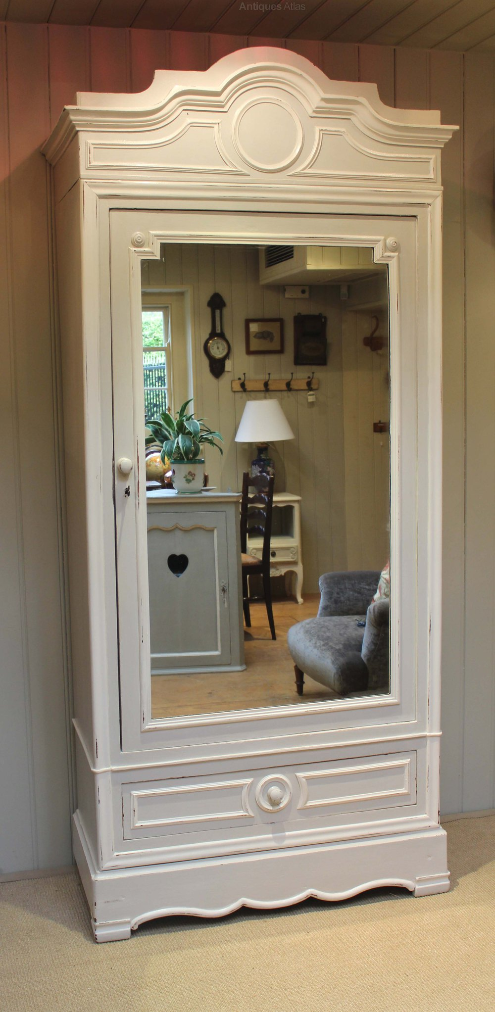 Painted Single Mirrored Door Armoire - Antiques Atlas