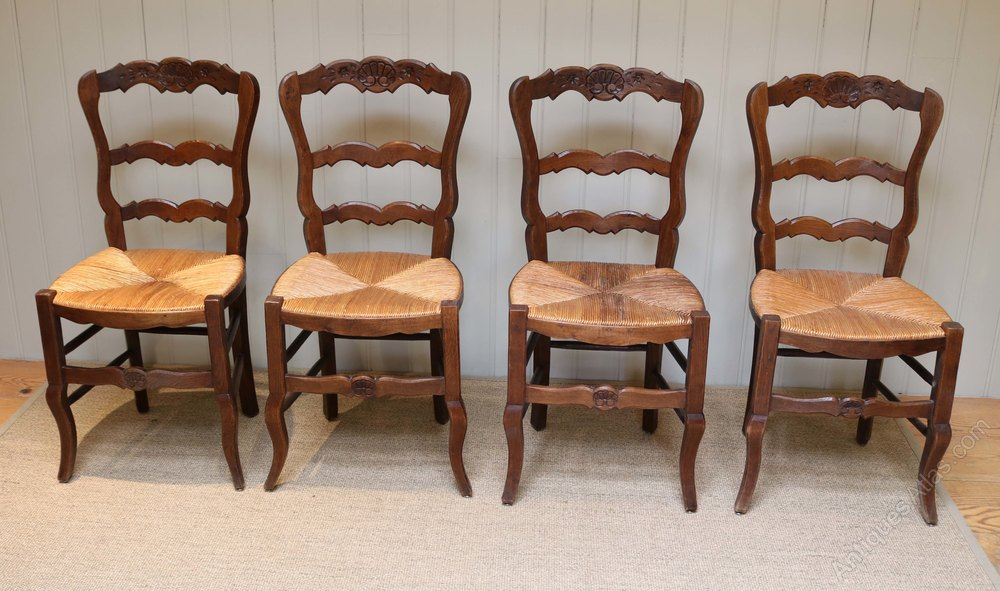 Set Of Four French Oak Dining Chairs Antiques Atlas