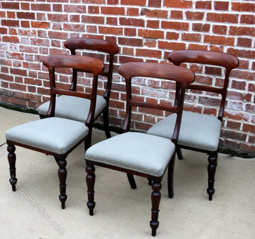 Set Of Four Upholstered Dining Chairs ... - Set Of Four Upholstered Dining Chairs - Antiques Atlas