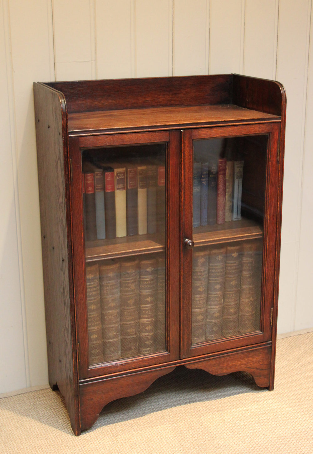 Low Bookcases With Doors: Small Oak Two Door Bookcase