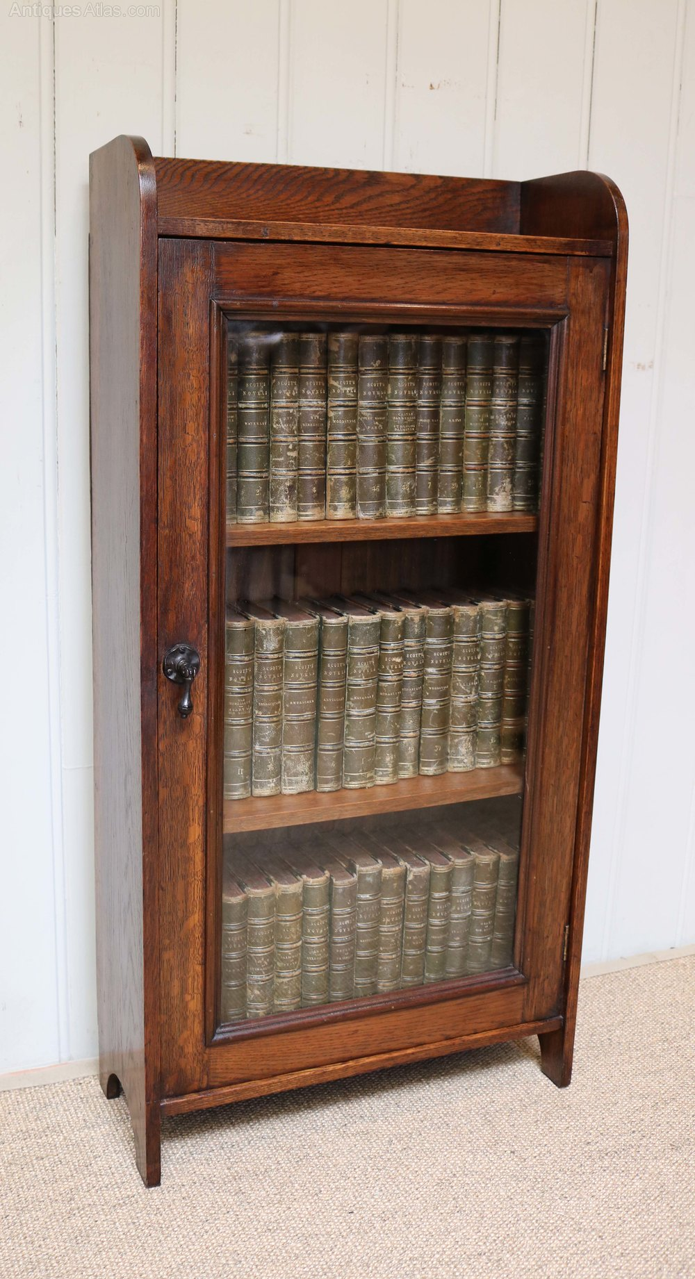 Small Proportioned Oak Glazed Bookcase Antiques