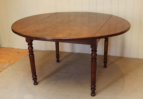 Amazing Solid Oak Drop Leaf Round Table ...