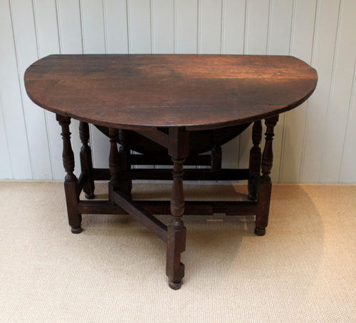 Captivating Solid Oak Gateleg Table (English, C. 1700) Antique ...