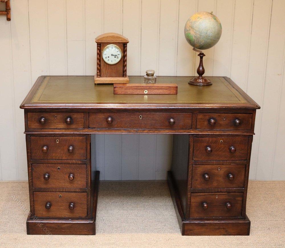 solid oak pedestal desk antiques atlas