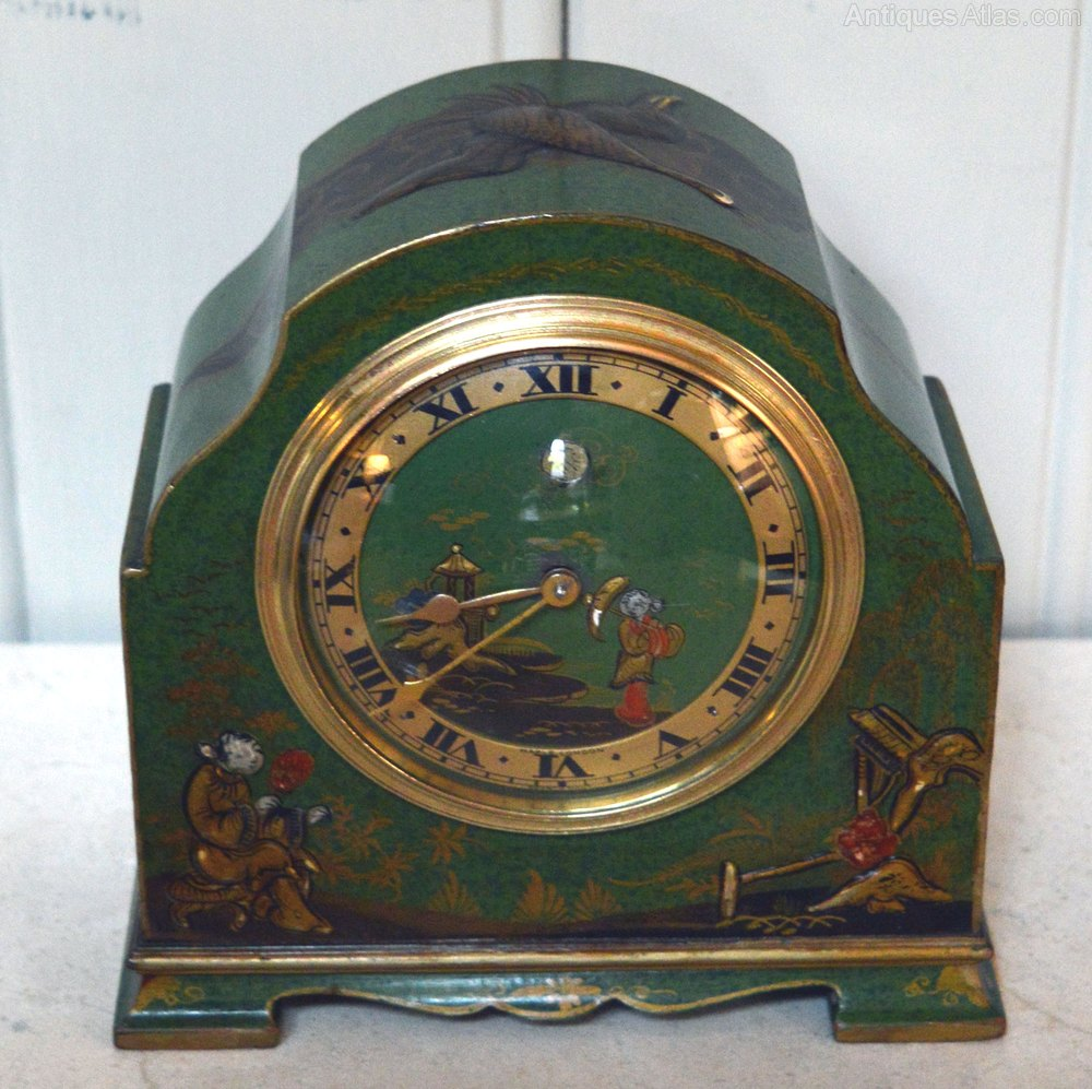 Antiques Atlas - Unusual Green Chinoiserie Mantel Clock