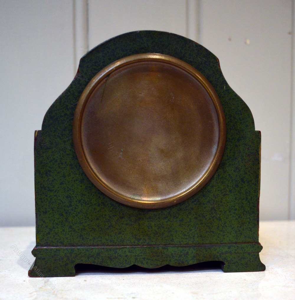 Antiques Atlas - Unusual Green Chinoiserie Mantel Clock