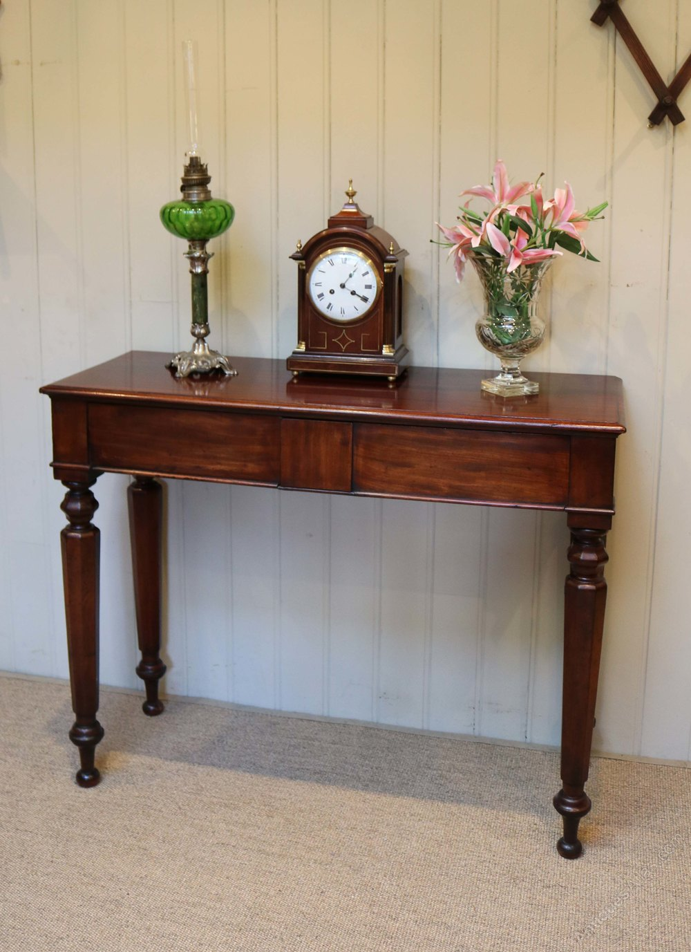 victorian mahogany hall table having two drawers raised on turned