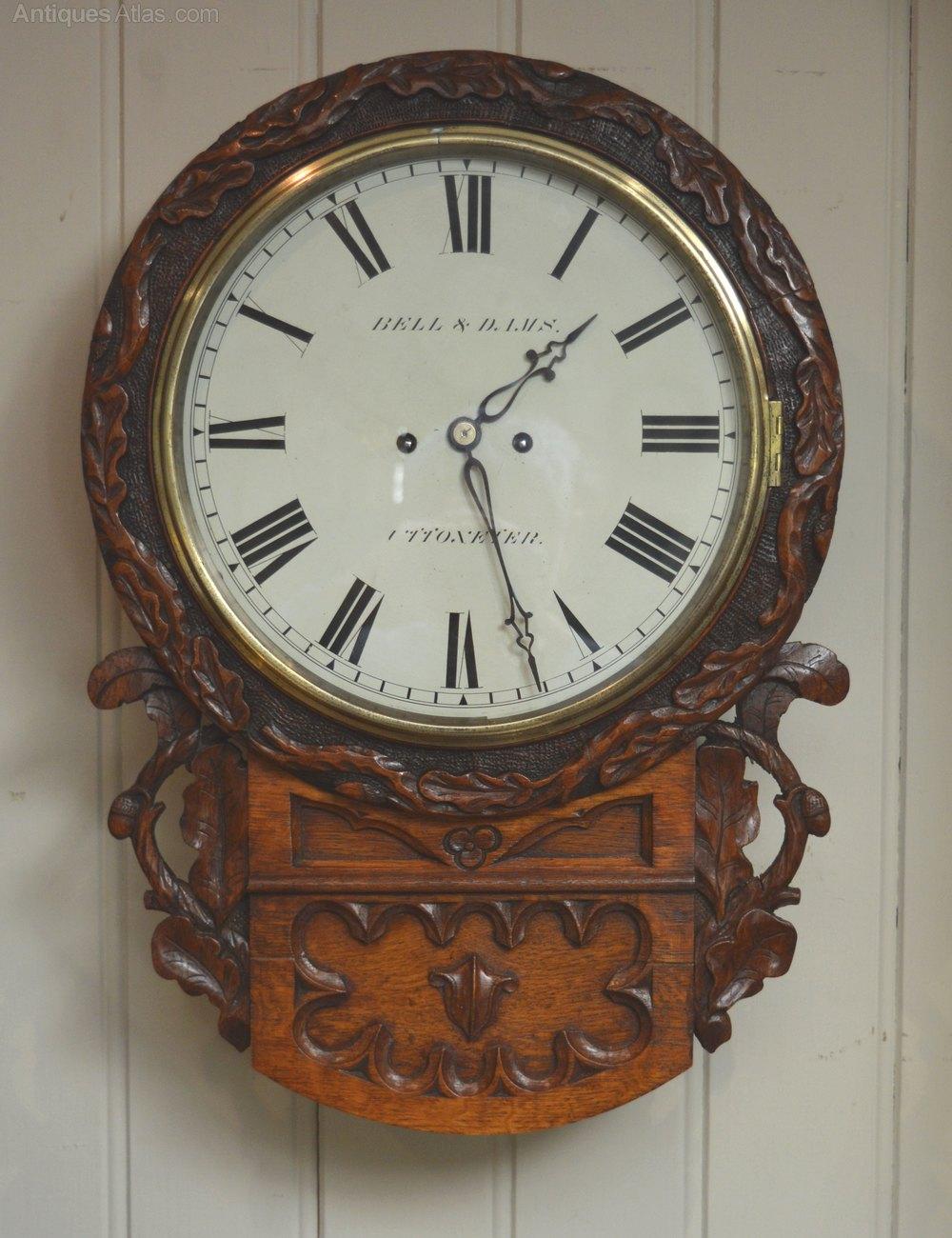 Antiques Atlas Victorian Oak Striking Drop Dial Wall Clock