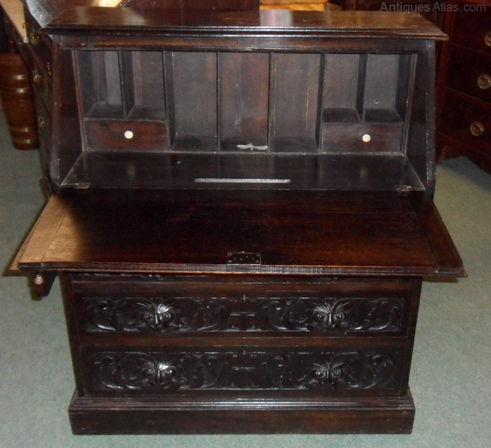 1800s carved bureau antiques atlas for Bureau antique