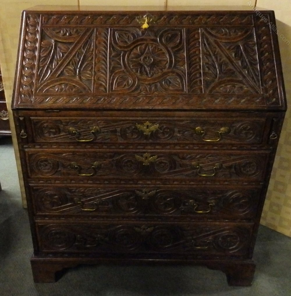 Antique georgian oak bureau antiques atlas for Bureau antique