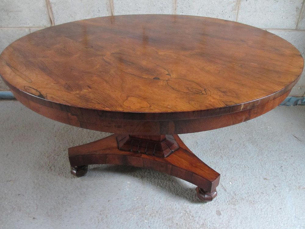 Regency Rosewood Circular Tilt Top Dining Table Antiques