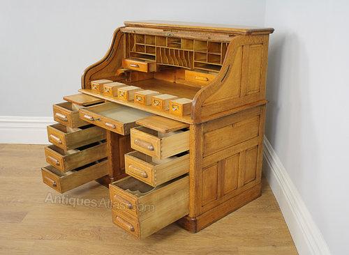 4ft Victorian Oak Rolltop Pedestal Office Desk Antiques