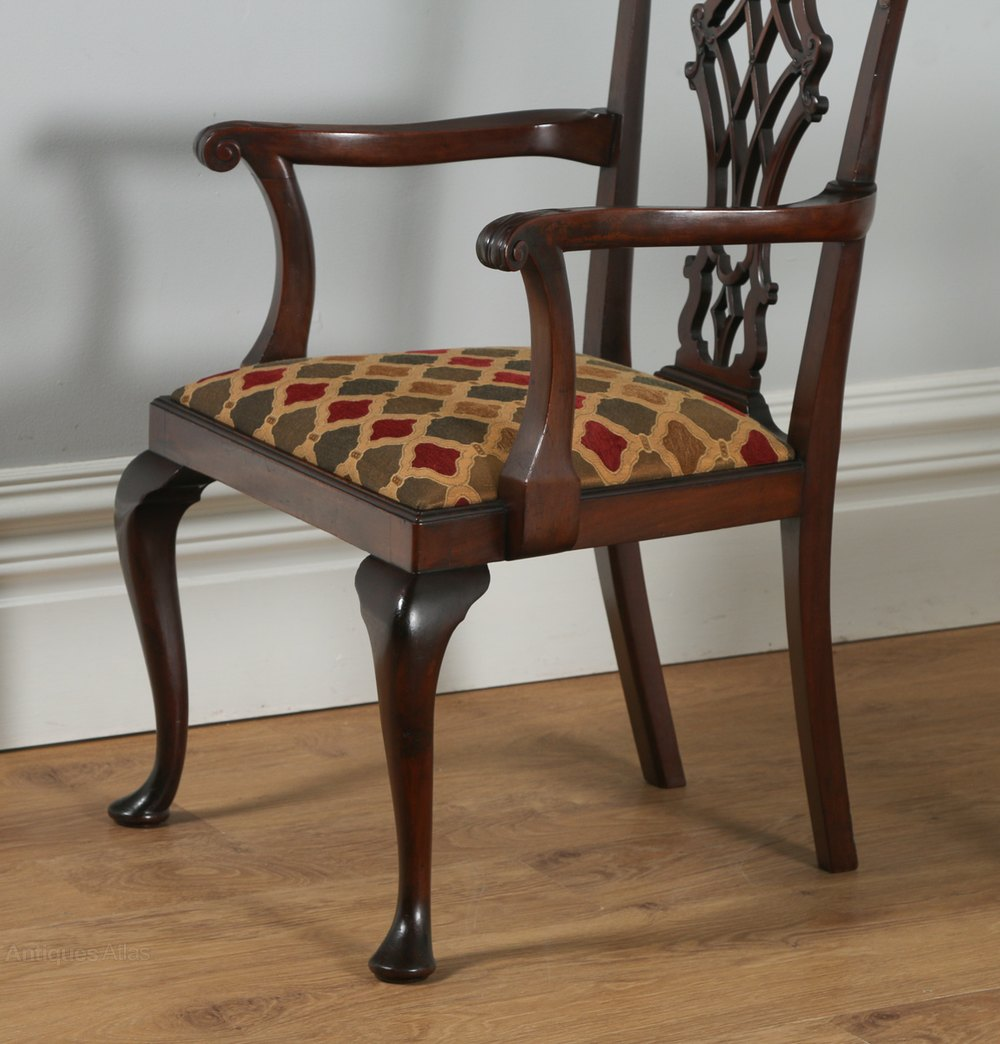 8 English Georgian Chippendale Style Dining Chairs