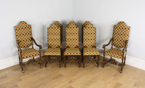 8 French Carolean Walnut Dining Chairs (c. - 8 French Carolean Walnut Dining Chairs (c. 1860) - Antiques Atlas