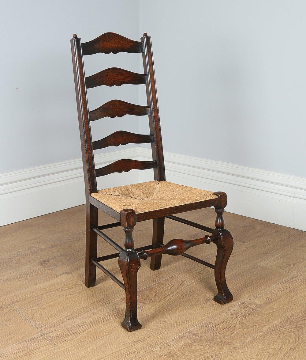 8 Oak Ladder Back Farmhouse Dining Chairs C 1890