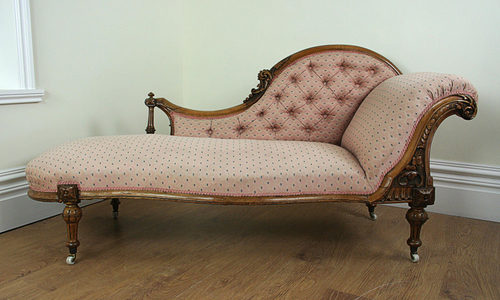 Victorian carved walnut pink chaise longue for Antique chaise longue for sale uk