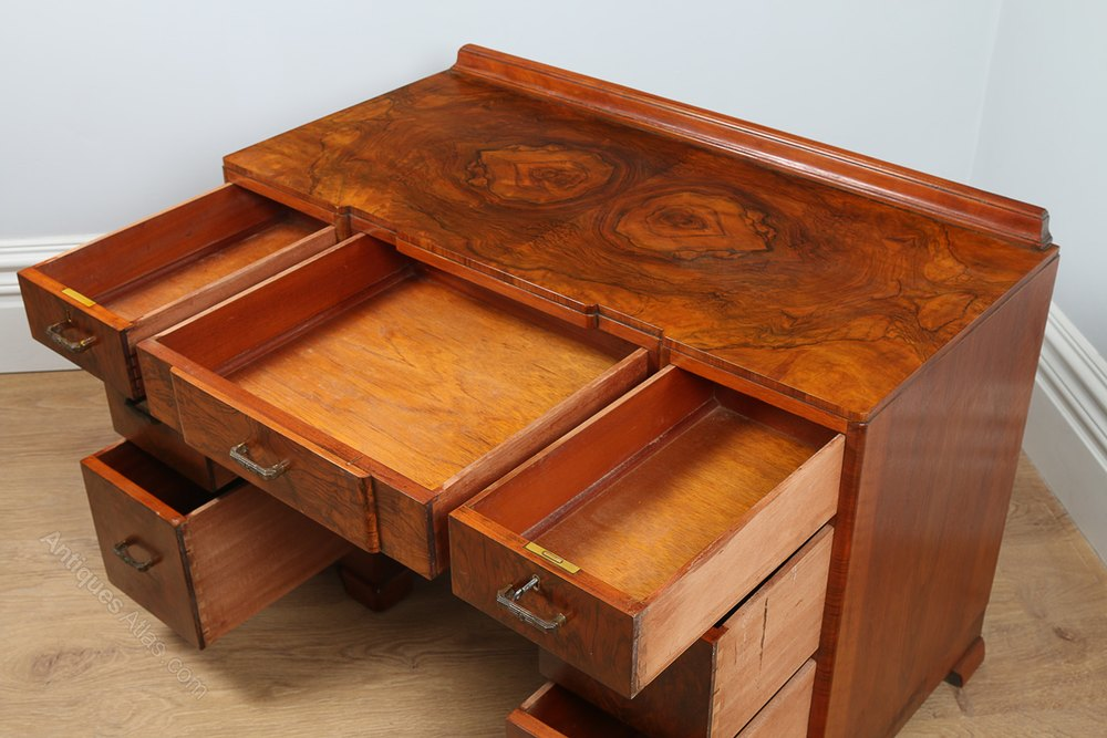 Art deco burr walnut desk circa 1935 antiques atlas for Examples of art deco furniture