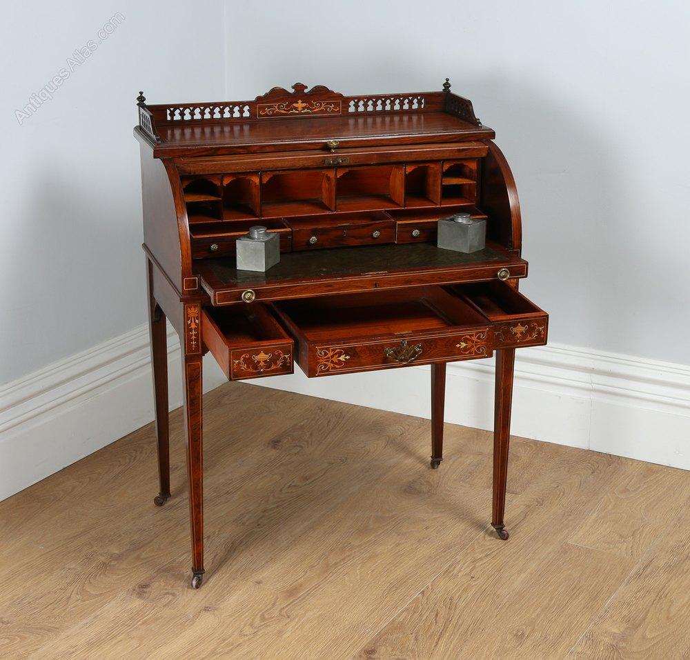 Edwardian Ladies Rosewood Amp Leather Cylinder Desk
