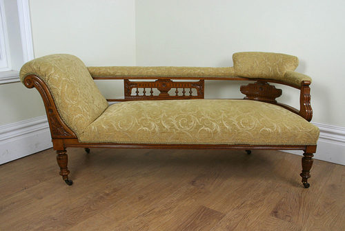 Edwardian oak double end chaise longue antiques for Antique wooden chaise lounge
