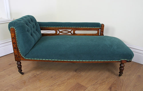 Edwardian Walnut Rail-back Chaise Longue (c.1901) ... : edwardian chaise longue - Sectionals, Sofas & Couches