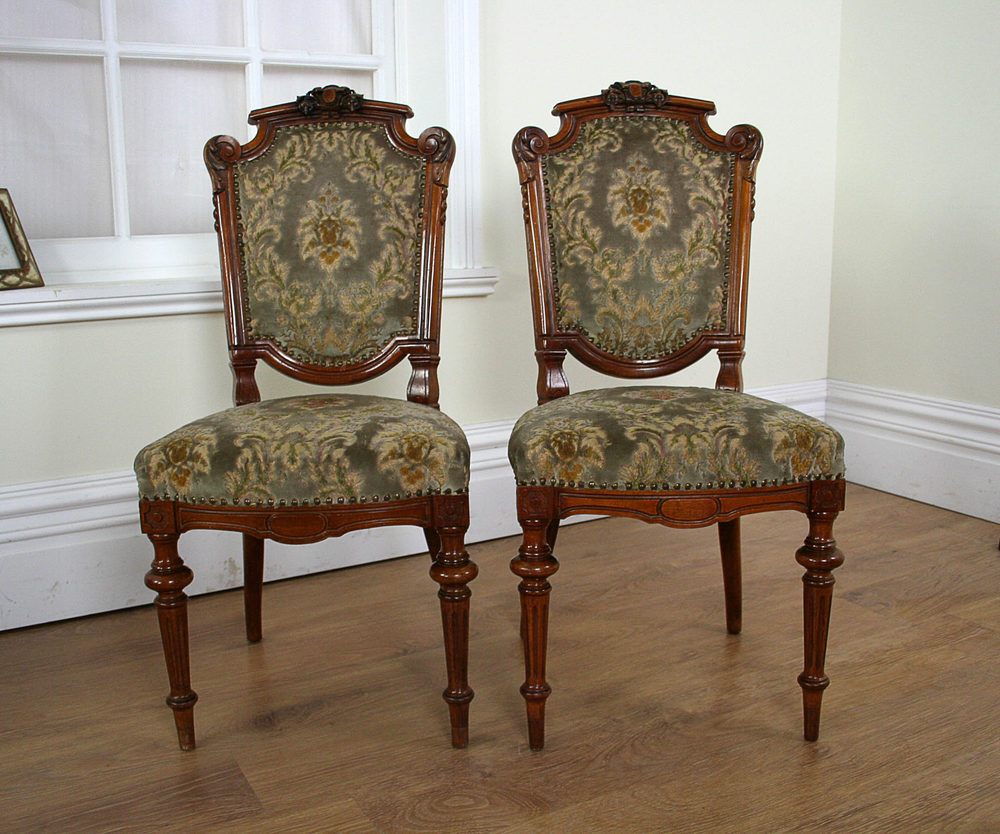 French Pair Of Walnut Stand Chairs C 1890 Antiques Atlas