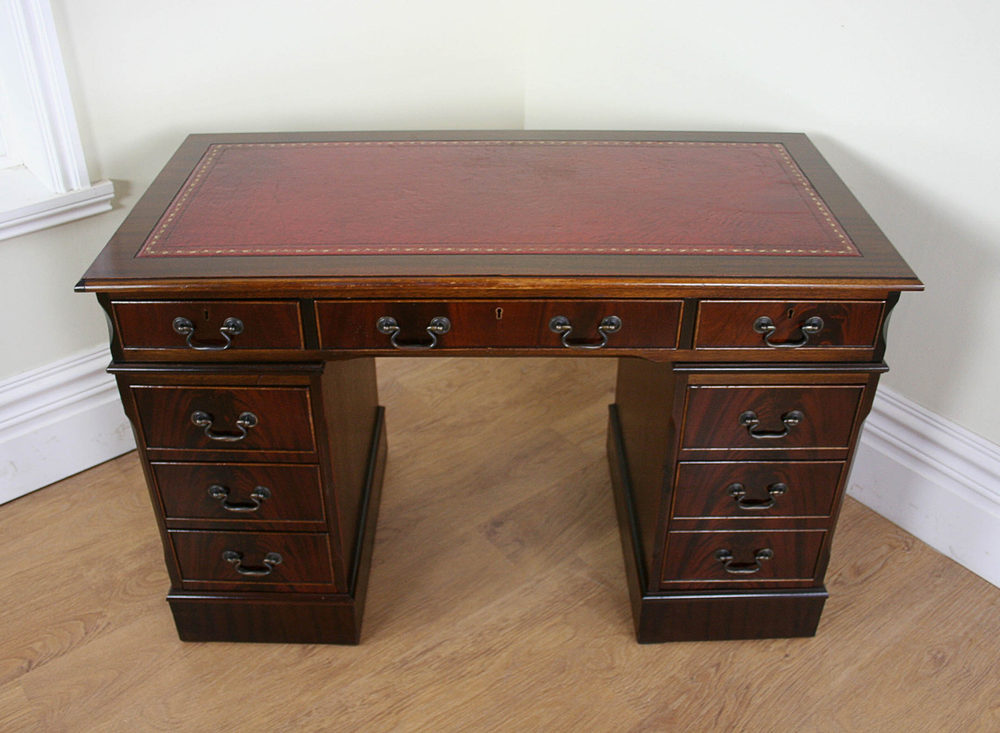 Antiques Atlas Georgian Style Mahogany Leather Desk 4 X2