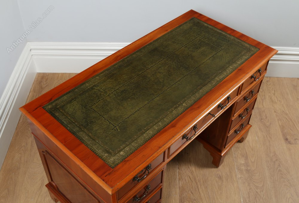 Antiques Atlas Georgian Style Yew Wood Green Leather