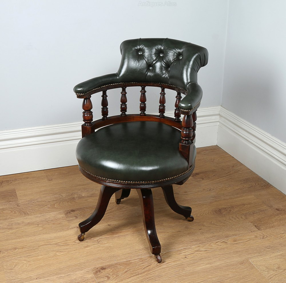 Mahogany Leather Revolving Captains Office Chair