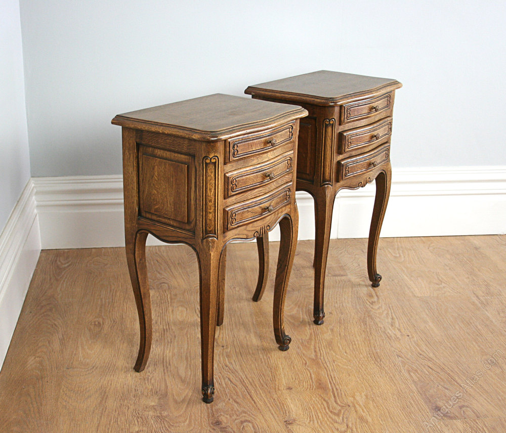 Pair French Oak Louis Style Bedside Cabinet Tables