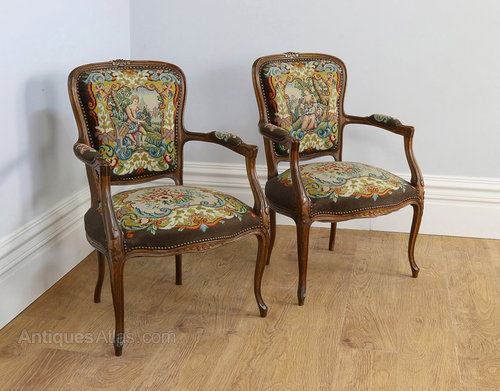 Pair French Tapestry Beech Salon Chairs C 1900