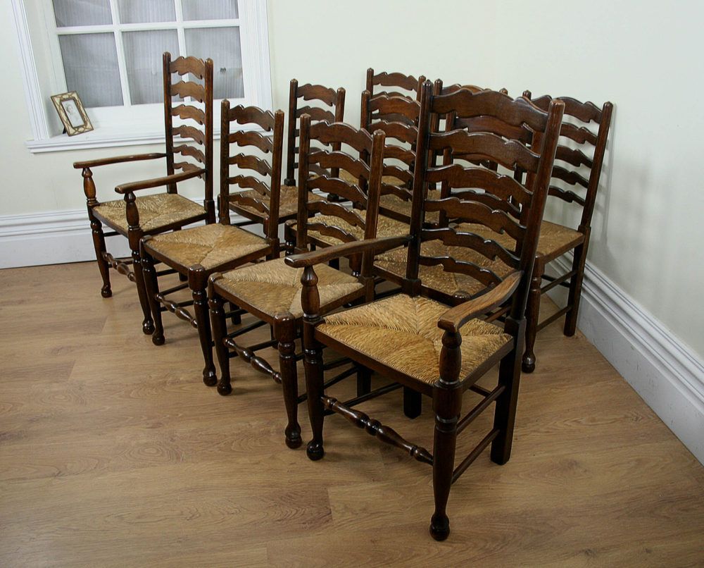 Antiques atlas set of 10 oak farmhouse ladder back chairs Ladder back chairs