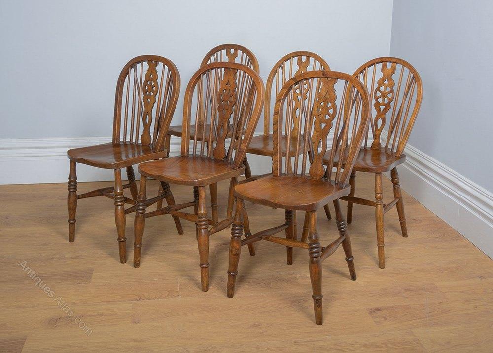 Set 6 Ash & Elm Wheel Back Dining Chairs Antiques Atlas