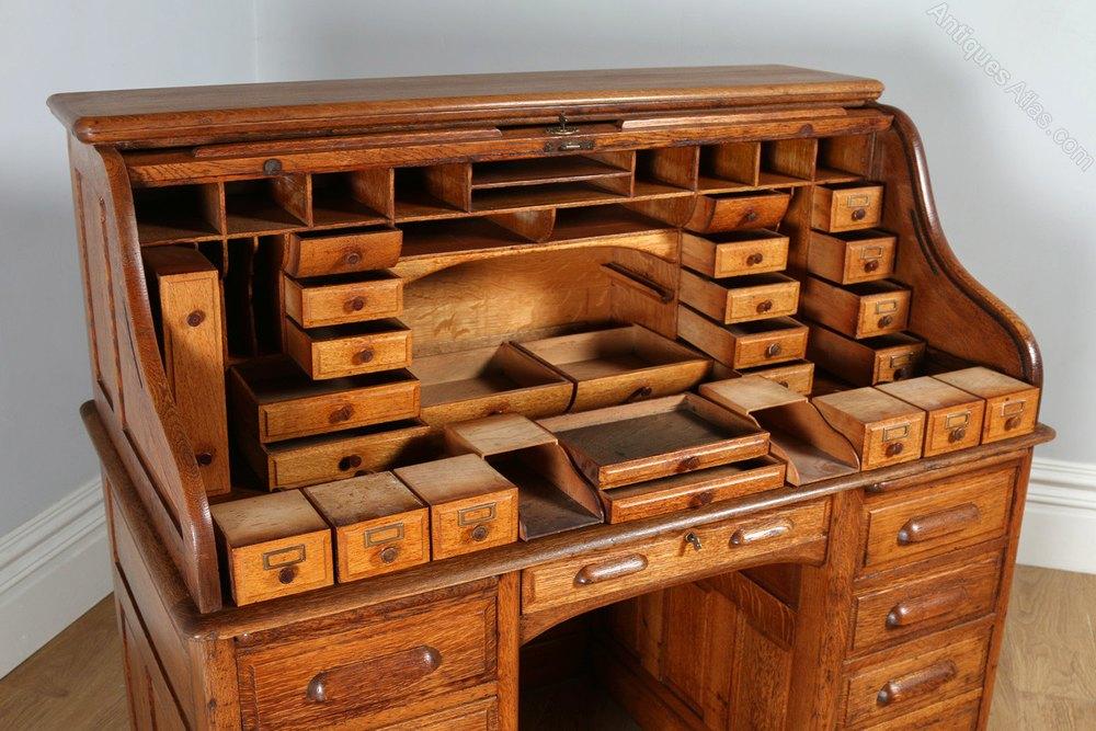 Victorian 4ft 7⅛ Oak Roll Top Pedestal Desk C1890