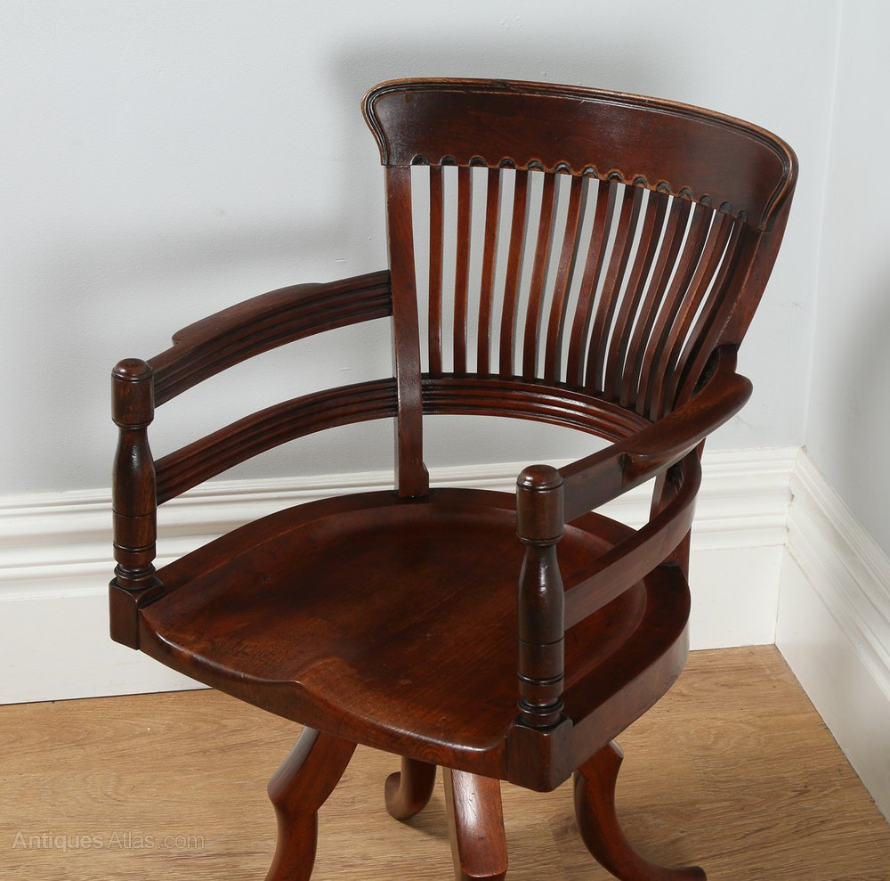 Victorian mahogany swivel office desk chair c
