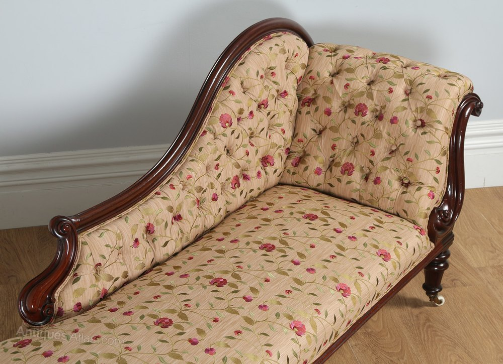 Victorian mahogany upholstered chaise longue antiques atlas for Antique chaise longue for sale uk