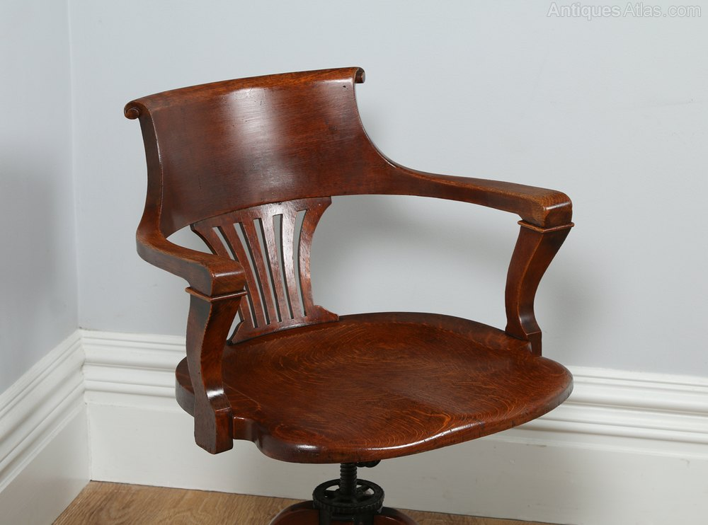 Victorian Oak Revolving Office Desk Chair C 1890