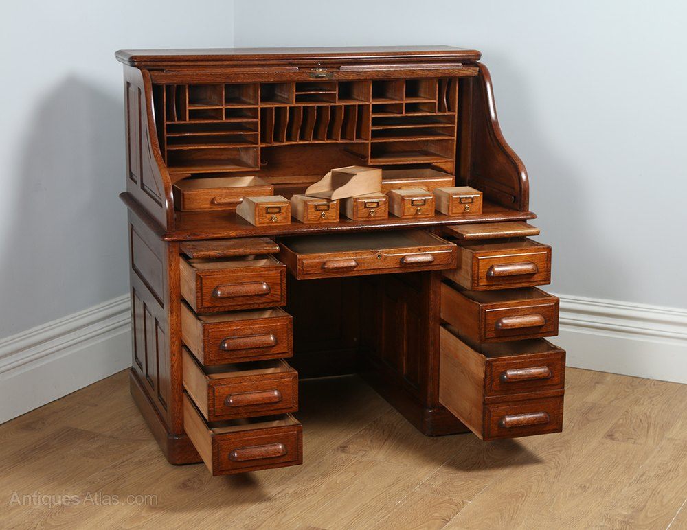 Victorian Oak Roll Top Pedestal Desk Circa 1890