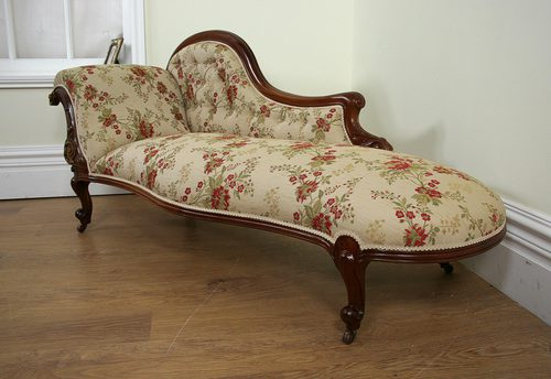 Victorian walnut floral silk chaise longue c1850 for Antique chaise longue for sale uk