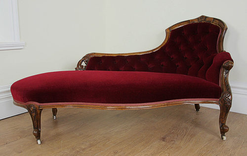 victorian walnut red velvet chaise longue. Black Bedroom Furniture Sets. Home Design Ideas